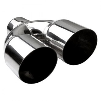 "Different Trend® - Hi-Polished Series Stainless Steel Round Angle Cut Dual Exhaust Tip (2.25"" Inlet, 3.5"" Outlet, 10"" Length)"