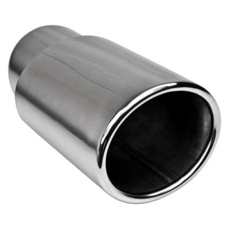 "Different Trend® - Hi-Polished Series Stainless Steel Oval Rolled Edge Straight Cut Double-Wall Exhaust Tip (2.25"" Inlet, 7.25"" Length)"