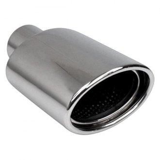 "Different Trend® - Hi-Polished Series Stainless Steel Oval Resonated Rolled Edge Angle Cut Double-Wall Exhaust Tip (2.25"" Inlet, 7.25"" Length)"