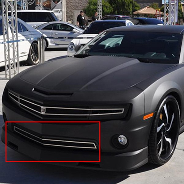 DJ Grilles® - Image may not reflect your exact vehicle! Phantom Hidden Headlight Black Mesh Bumper Grille