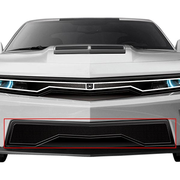 Image may not reflect your exact vehicle!DJ Grilles® - Predator Series Hidden Headlight Black Mesh Bumper Grille