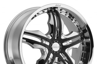 "DOLCE® - DC46 Chrome with Black Inserts (22"" x 9.5"", +18 Offset, 5x139.7 Bolt Pattern, 108mm Hub)"