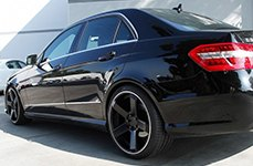 Dropstars 644B Satin Black with Machined Groove on Mercedes E Class