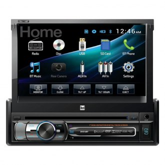 "Dual® - Single DIN DVD/CD/AM/FM/MP3 Receiver with Motorized 7"" Touchscreen Display Built-In Bluetooth"
