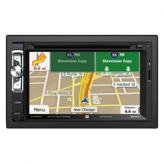 "Dual® - Double DIN DVD/CD/AM/FM/MP3/WMA/AAC Receiver with 6.2"" Touchscreen Display Built-In Bluetooth and GPS Navigation"