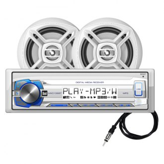"Dual® - White Marine AM/FM/MP3/USB/Bluetooth Stereo Receiver with Two 6-1/2"" Speakers"