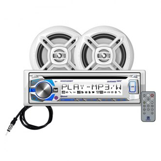"Dual® - White Marine CD/AM/FM/MP3/USB/Bluetooth Stereo Receiver with RGB Custom Colors and Two 6-1/2"" Speakers"