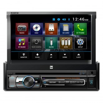 "Dual® - Single DIN DVD/CD/AM/FM/MP3/WMA/AAC Receiver with Motorized 7"" Touchscreen Display Built-In Bluetooth"