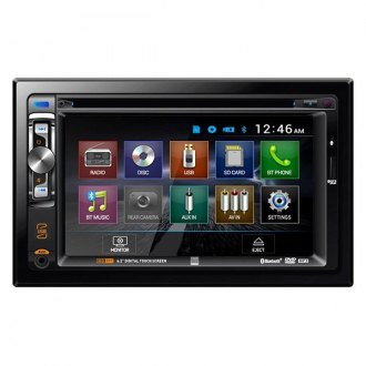 "Dual® - Double DIN DVD/CD/AM/FM/MP3/WMA/AAC/AVI Receiver with 6.2"" Built-In Bluetooth"