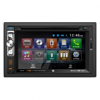 "Dual® - Double DIN DVD/CD/AM/FM/MP3/MP4 Receiver with 6.2"" Touchscreen Display, Built-In Bluetooth and Steering Wheel Control"