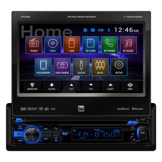 "Dual® - Single DIN DVD/MP3/CD/USB/SD Receiver with 7"" Touch Screen Display, Bluetooth and HDMI Input"