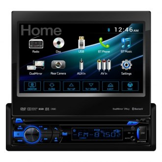 "Dual® - Single DIN DVD/CD/AM/FM/MP3/WMA/AAC/MP4/AVI Receiver with Motorized 7"" Touchscreen Display Built-In Bluetooth and 2-Way DualMirror™"