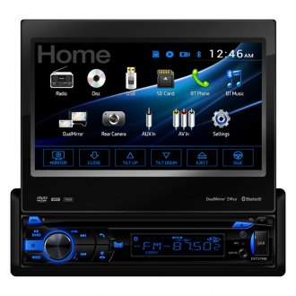 "Dual® - Single DIN DVD/CD/AM/FM/MP3/MP4 Receiver with Motorized 7"" Touchscreen Display, MirrorLink and Built-In Bluetooth"