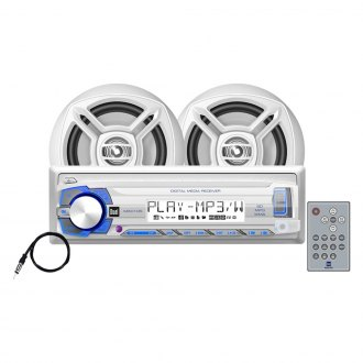 "Dual® - White Marine MP3/WMA/AM/FM/USB/SD Stereo Receiver with Two 6-1/2"" Speakers"
