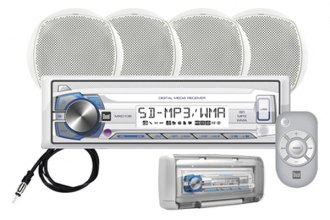 Dual® - Single DIN Marine AM/FM USB/SD Receiver with Two 6-1/2'' 100W Speakers