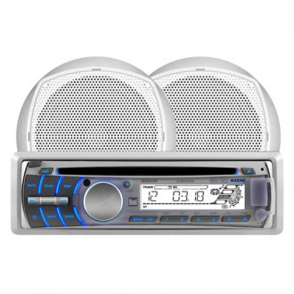 "Dual® - Silver Marine AM/FM/USB/SD/CD/Aux Stereo Receiver with Two 6-1/2"" Speakers"