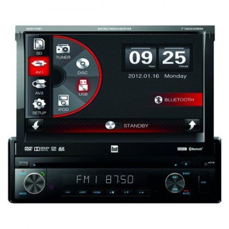 "Dual® - Single DIN DVD/CD/AM/FM/MP3/WMA Receiver with Motorized 7"" Touchscreen Display and Built-In Bluetooth"