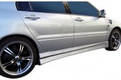 Image may not reflect your exact vehicle! Duraflex® - Walker Style Fiberglass Side Skirts Rocker Panels (Unpainted)