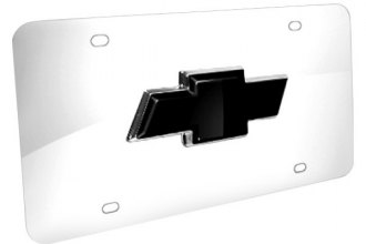 DWD® - 3D Black Bowtie on Chrome Stainless Steel License Plate