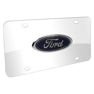 iPickimage® - 3D Ford Oval Car Logo on Chrome Stainless Steel License Plate