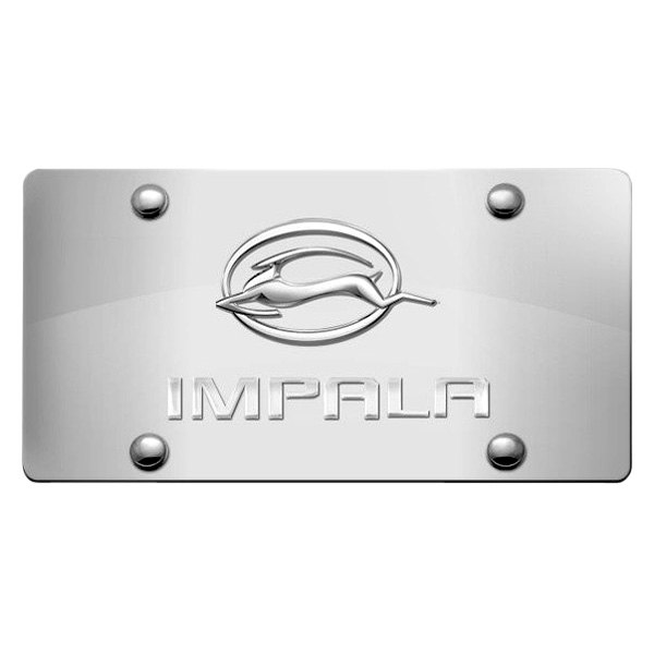 DWD® - 3D Impala Logo on Chrome Stainless Steel License Plate with Gazelle