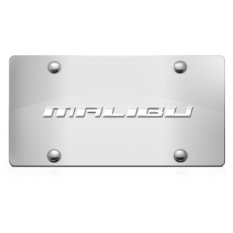 iPickimage® - 3D Malibu Logo on Chrome Stainless Steel License Plate