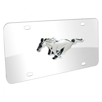 iPickimage® - 3D Mustang Logo on Chrome Stainless Steel License Plate