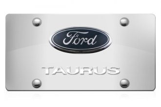 DWD® - 3D Taurus Logo on Chrome Stainless Steel License Plate with Ford Oval Emblem