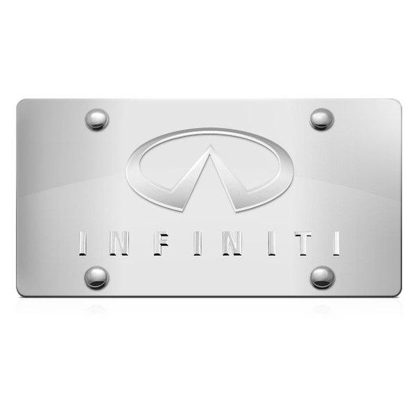 DWD® - 3D Infiniti Logo on Chrome Stainless Steel License Plate with Infinitil Emblem