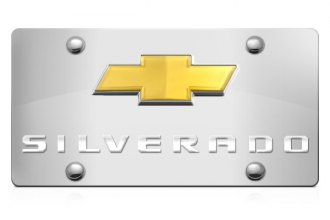 DWD® - 3D Silverado Logo on Chrome Stainless Steel License Plate with Gold Bowtie