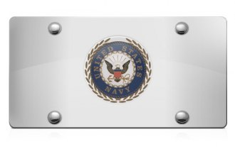 DWD® 306748 - 3D Navy Logo on Chrome Stainless Steel License Plate