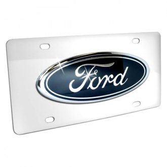 DWD® - 3D Ford Oval Truck Logo on Chrome Stainless Steel License Plate