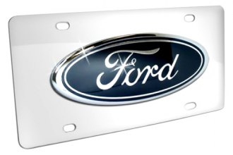 DWD® - 3D Ford Oval Logo on Chrome Stainless Steel License Plate