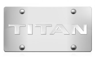 DWD® 307899 - 3D Titan Logo on Chrome Stainless Steel License Plate