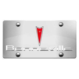 DWD® - 3D Bonneville Logo on Chrome Stainless Steel License Plate with Pontiac Emblem