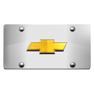 DWD® - 3D Gold Bowtie on Chrome Stainless Steel License Plate