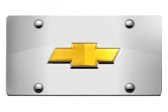 DWD® 308407 - 3D Gold Bowtie on Chrome Stainless Steel License Plate
