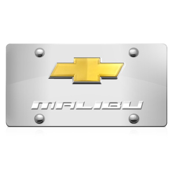 DWD® - 3D Malibu Logo on Chrome Stainless Steel License Plate with Gold Bowtie