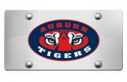 DWD® - 3D Tiger Eyes Decal Logo on Chrome Stainless Steel License Plate