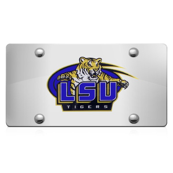 DWD® - 3D LSU Tigers Decal Logo on Chrome Stainless Steel License Plate