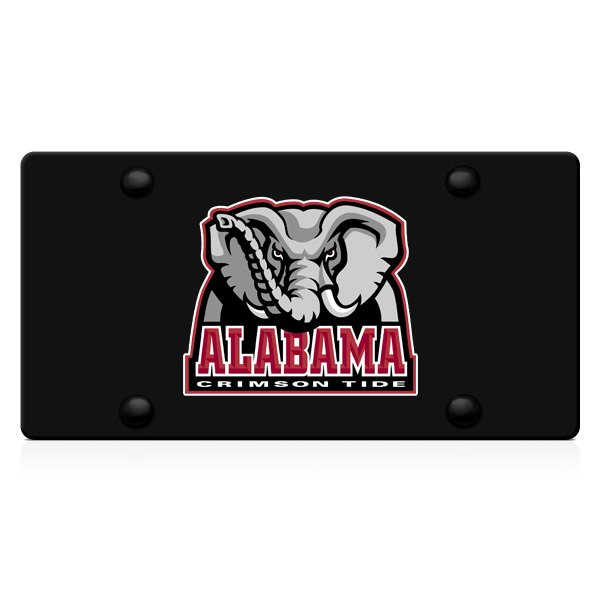 DWD® - 3D Big Al Decal Logo on Black Stainless Steel License Plate