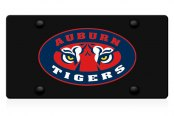 DWD® - 3D Tiger Eyes Decal Logo on Black Stainless Steel License Plate