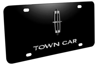 DWD® - 3D Town Car Logo on Black Stainless Steel License Plate with Lincoln Star Emblem