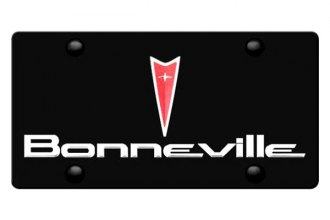 DWD® - 3D Bonneville Logo on Black Stainless Steel License Plate with Pontiac Emblem