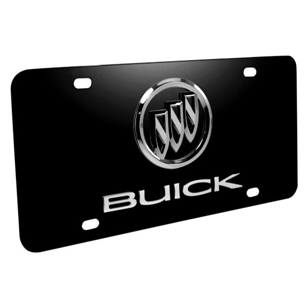 DWD® - 3D Buick Double Logo on Black Stainless Steel License Plate