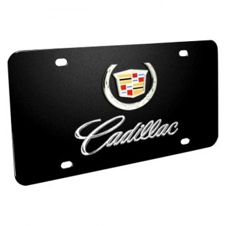 iPickimage® - 3D Cadillac Double Logo on Black Stainless Steel License Plate