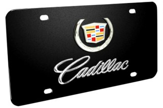 DWD® - 3D Cadillac Double Logo on Black Stainless Steel License Plate