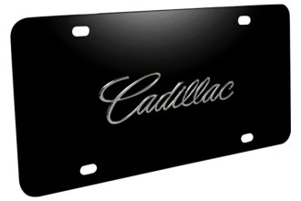 DWD® - 3D Cadillac Name on Black Stainless Steel License Plate