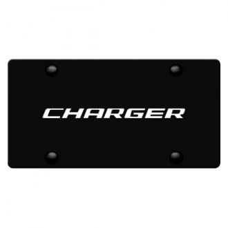 iPickimage® - 3D Charger Logo on Black Stainless Steel License Plate