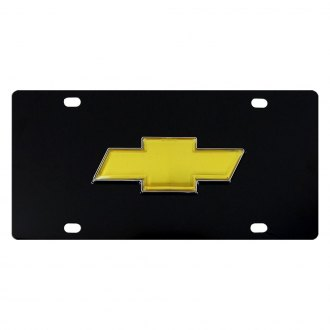 DWD® - 3D Gold Bowtie on Black Stainless Steel License Plate